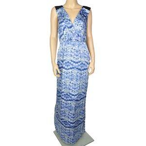 BCBG Black Blue White Maxi Draped Dress